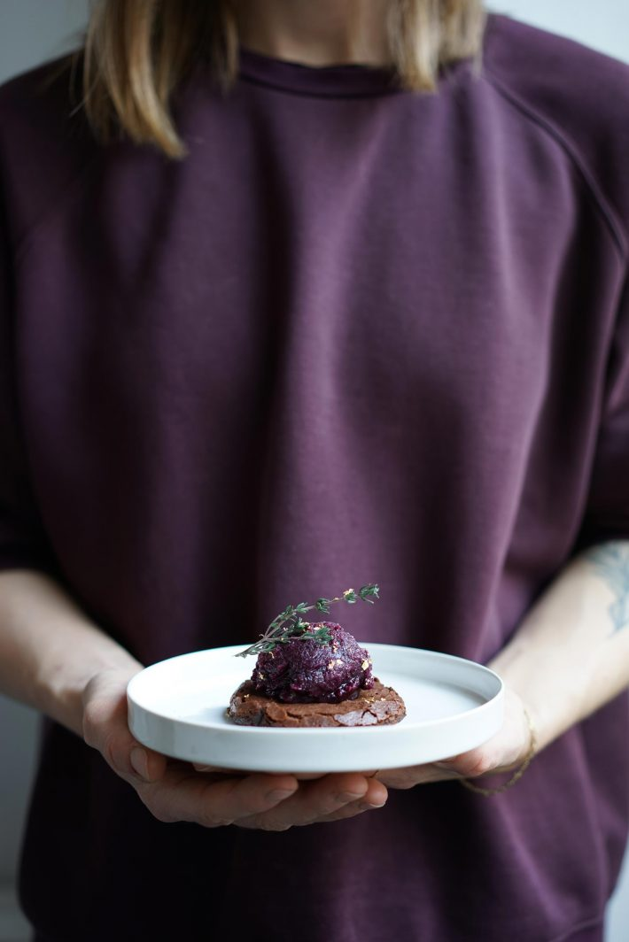 Crimson brownie sorbet