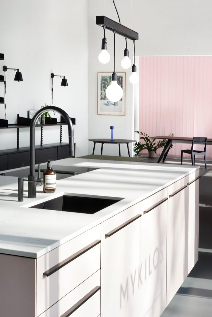 Kitchen island and home interior furniture at MYKILOS showroom, Berlin