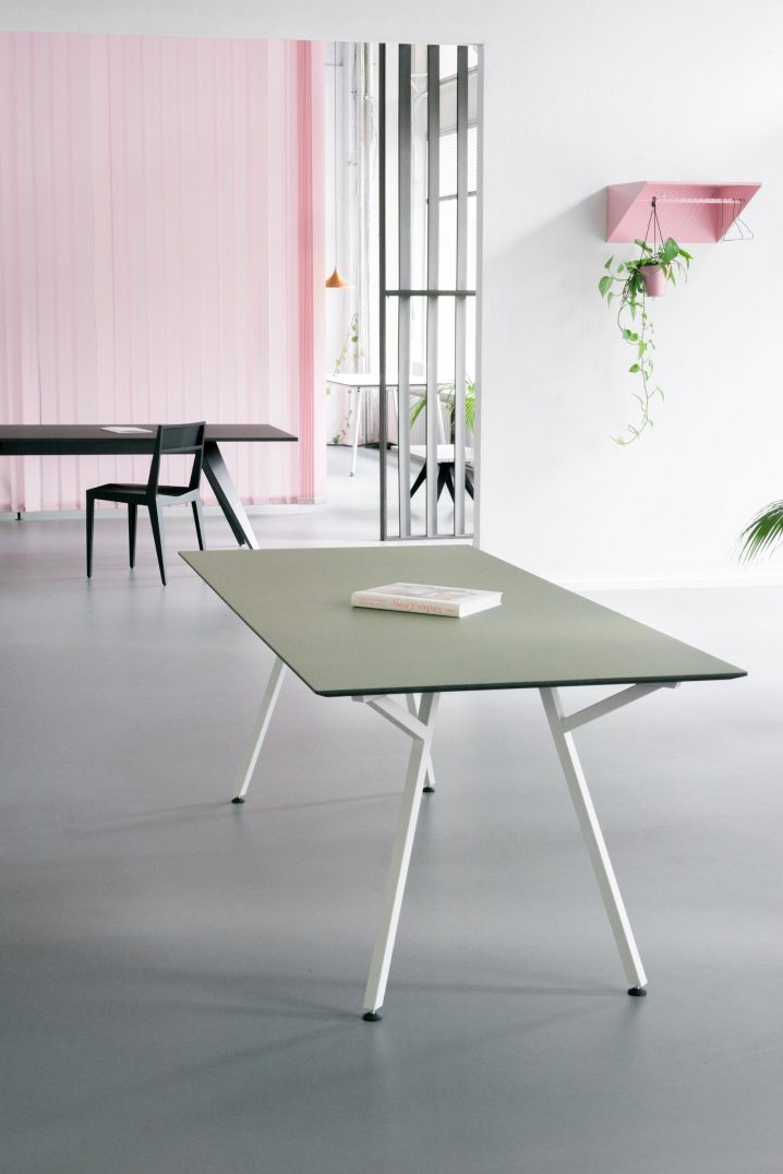 Egon Table - White base with green linoleum table-top