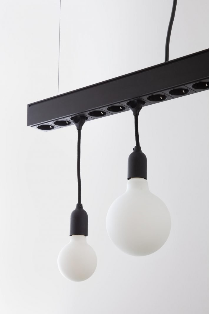 Hang Jack pendant lamp and power bar + Linus light fixtures and LED Porcelain Bulbs - Close up