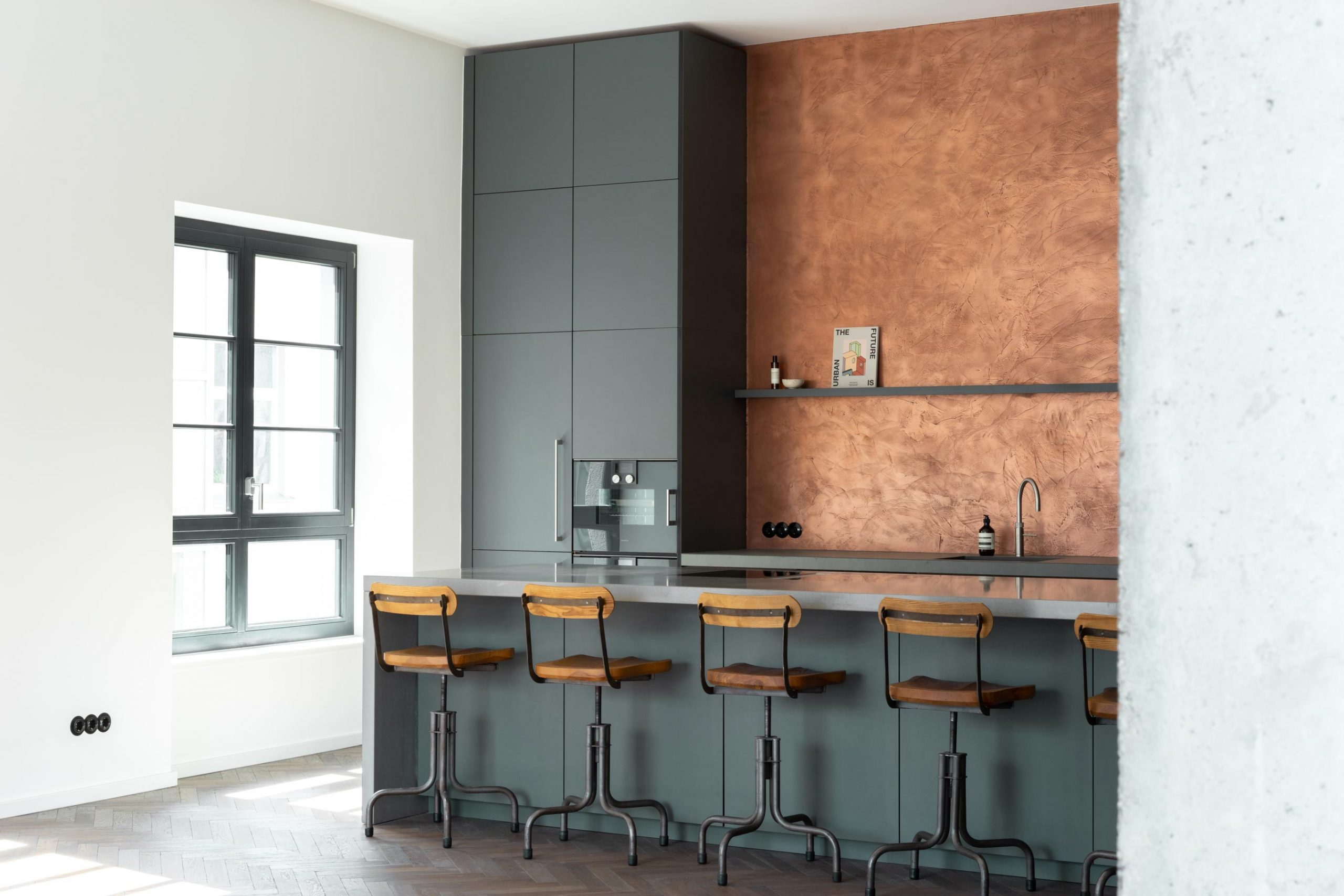 A striking copper - kitchen backsplash / wall