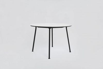 02 EASY TABLE ROUND BLACK SCHWARZ ROSA GRUEN WEISS WHITE ROSE GREEN HPL LINOLEUM TISCH MODERN MYKILOS scaled