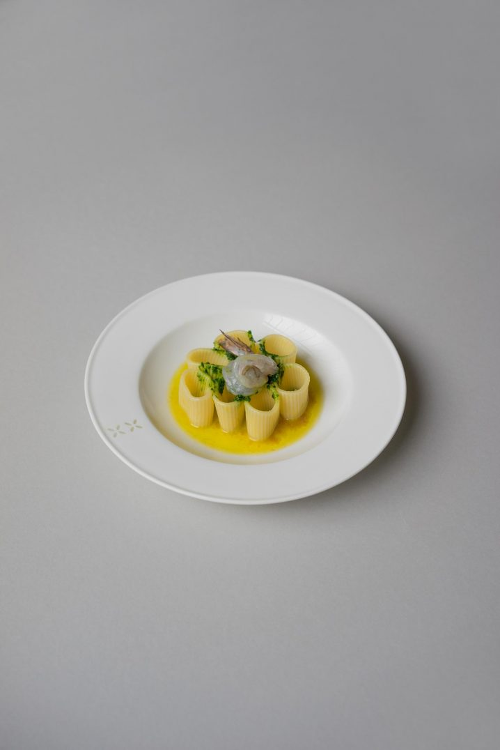 Pasta in fish stock, prawns and Salsa Verde | By Mattia Risaliti